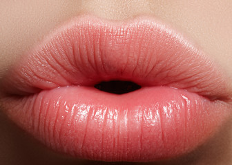 Sweet kiss. Perfect natural lip makeup. Close up macro photo with beautiful female mouth. Plump full lips. Close-up face detail. Perfect clean skin, light fresh lip make-up. Beautiful spa tender lip.