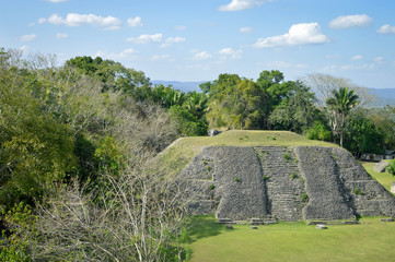 The pyramid at the Plaza A-1 and the panoramic views seen from the top of El Castillo pyramid, San Ignacio, Belize. Central America