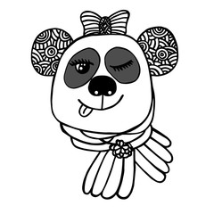 Hand drawn head of smile Panda with bow