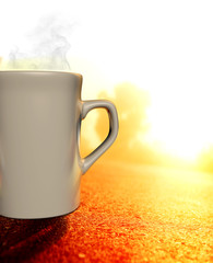 A 3D illustrator cup with coffee