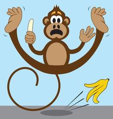 Cartoon Monkey Slipping on Banana Peel