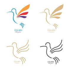 colibri mark. Abstract bird illustration.