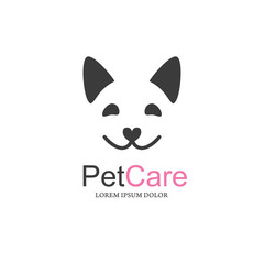 pet care. dog face with smile.