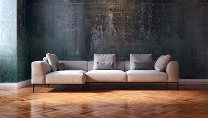 Soggiorno moderno con divano e parquet