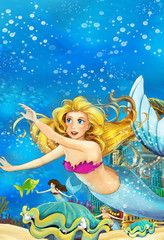 Cartoon fantasy scene on underwater kingdom - beautiful manga girl - mermaid - illustration for children