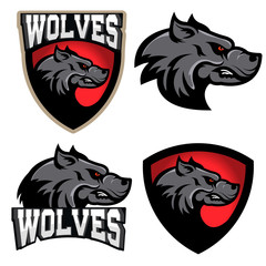 Wolves. Sport team logo template.