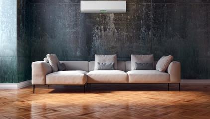 Soggiorno moderno con aria condizionata, divano e parquet