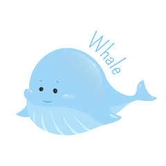Blue whale. Sticker for kids. Child fun icon.