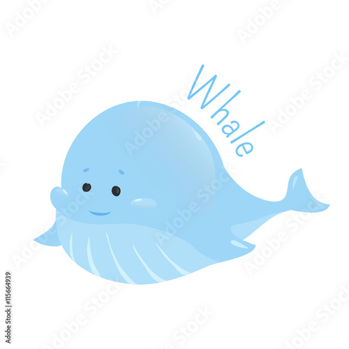 Blue whale sticker for kids child fun icon