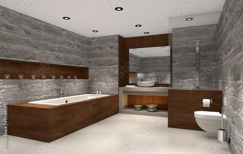 Modernes Badezimmer Mit Holz Und Stein Bathroom Stockfotos Und