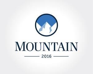 Mountain Logo Template. Vector Design Element for Logotype, Label, Badge, Emblem. Mountain Logo, Hills Logo, Mountain Symbol, Mountain Icon, Rock Climber Logo.