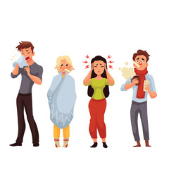 Set of sick people cartoon style vector illustration isolated on white background. People feeling unwell, having cold, seasonal flu, high temperature, running nose, and headache