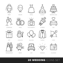 All Kinds of Wedding Marriage or Bridal Pictograms Set Vector. Black and White