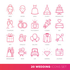 All Kinds of Wedding Marriage or Bridal Pictograms Set Vector.