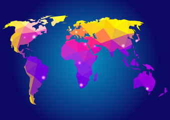 World Map. Map of World. World Map Background in Polygonal Style. Colored Map of the World.