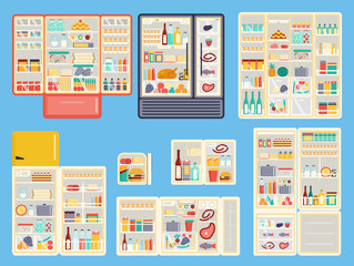 Illustration of open refrigerator products with food,drinks and kitchenware. Appliance food kitchen fruit freezer open refrigerator products. Set of open refrigerator products full container vector.