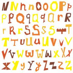 Vector set of different lettes N-Z