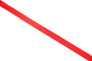 Shiny red ribbon on white background