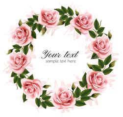 Fototapete - Beautiful rose wreath. Vector.