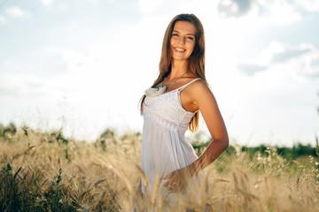 Beautiful woman in fields