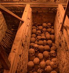 LIMA, PERU - CIRCA 2016: View of catacombs in San Francisco church  circa 2016 in Lima, Peru.