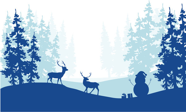 Christmas scenery deer and snowman silhouette