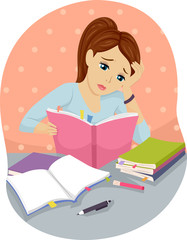 Teen Girl Books Study Hard