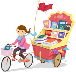 Stickman Girl Biking Book Cart