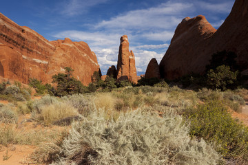 Weird landscape throughout Arches National Park in Utah, USA