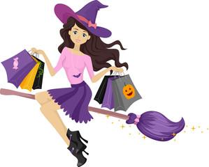 Teen Girl Witch Shopping Bags