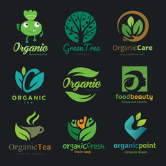Logo Vector set of natural, organic, tree, beauty, Logo collection of design elements for fresh food and healthy products.