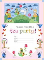 Childish tea party invitation with fairyland. Cute vector template