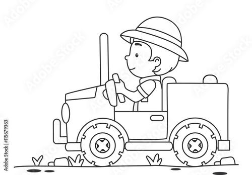 Kid Boy Safari Jeep Color Page