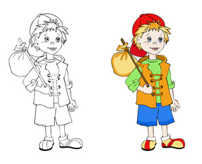 Coloring book with little traveler. Cartoon vector illustration for children education.