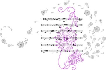 Beautiful card with hand drawn flowers and musical notes. Vector illustration.