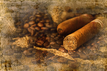 Cigar and coffee bean in small sack on the wooden table overlap