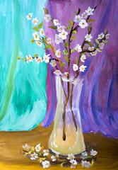"""Детский рисунок """"Натюрморт с цветущей абрикосовой веткой"""""""