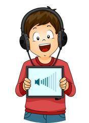 Kid Boy Listen Tablet Volume
