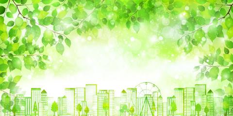 都会 新緑 エコ 背景