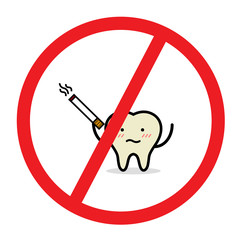 Vector of dont somke sign with old and yellow tooth because of smoking cigarette. Concept for dental care