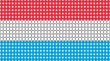 Abstract dotted flag of Luxembourg made from small dots and circles.