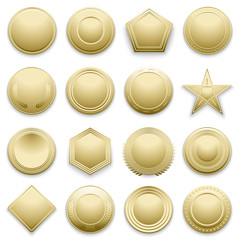 Vector blank gold labels set. Star and hexagon golden label, illustration set of gold badge for winning and awarding