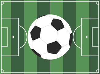european football field and ball. vector illustration