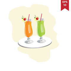Business Food drinks and cocktails in glasses decorative icons set isolated vector illustration