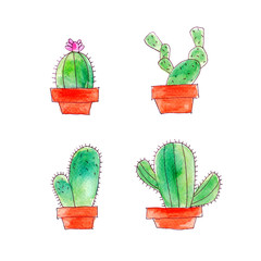 Cactus watercolor drawing set on white background
