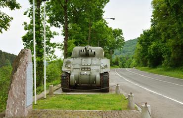 Sherman tank monument in Belgium Ardennes on the river Maas