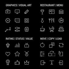 Icons sets: graphics and visual art, restaurant and menu, rating and status, move and copy. Linear, white.