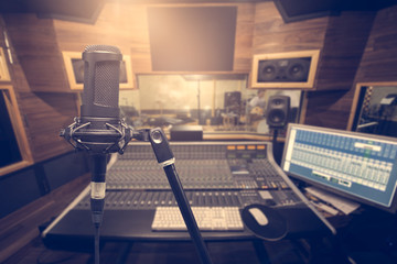 Music background and equipment,condenser microphone on reconding
