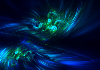 blue green haze feather fractal background. Fractal artwork for creative design.