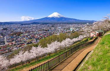 Fototapete - Aerial view of mt.Fuji, Fujiyoshida, Japan